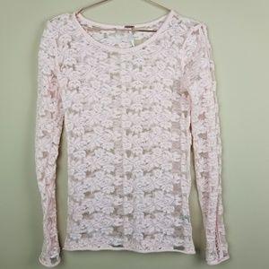 Free People Pink Long Sleeve Sheer top XS